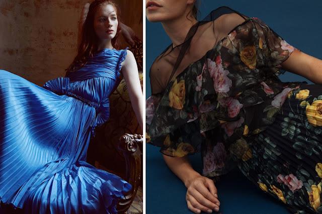 Голубое плиссированное платье, платье с крупным цветочным принтом с приссировкой