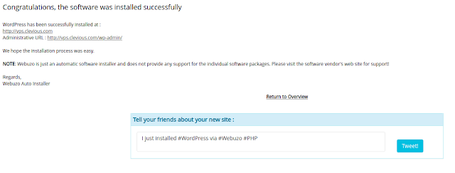 Congratulations Message: WordPress was installed successfully.