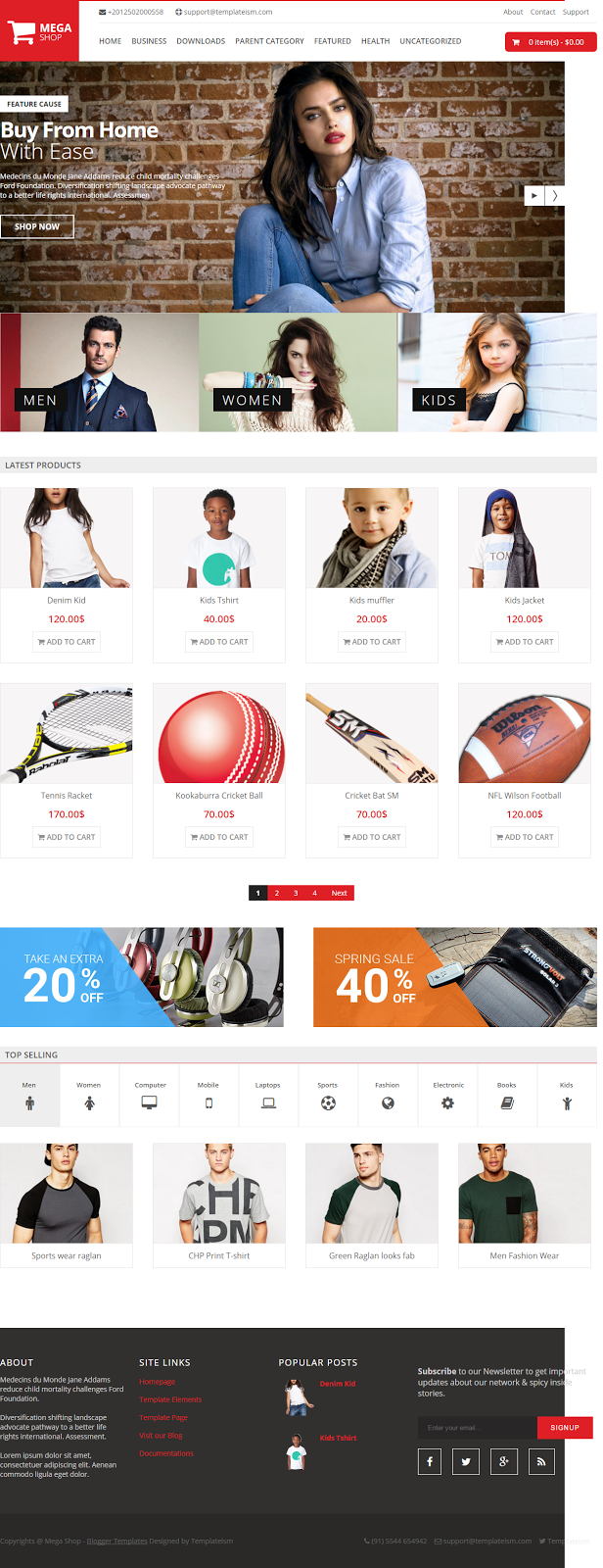 Mega Shop Blogger Template Download