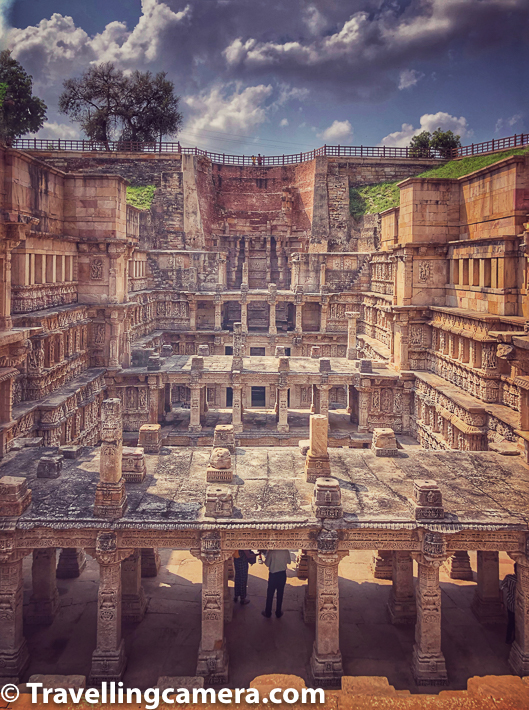 In above photograph, notice 2 folks on the top looking down at Rani ki Vav in Patan and the view from there is mind blowing. Next photograph is clicked from the same spot. If you are there and trying to have this view, don't climb up the boundary and better use your cameras to witness the view through digital advancements.    Rani Ki Vav is classified as a Nanda-type stepwell. It measures approximately 65 metres long, 20 metres wide and 28 metres deep. The entrance is located in the east while the well is located at the westernmost end and consists of a shaft 10 metres in diameter and 30 metres deep.
