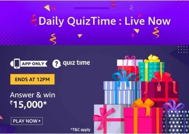 Amazon Quiz Answer 28 October 2019 Win - Rs 15,000