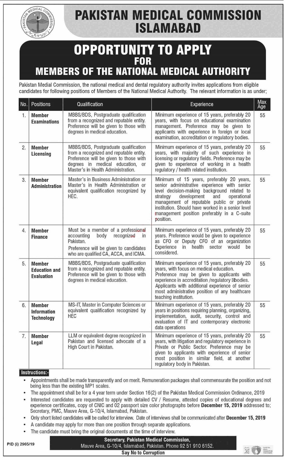 Pakistan Medical Commission PMC Islamabad Jobs 2019 Latest