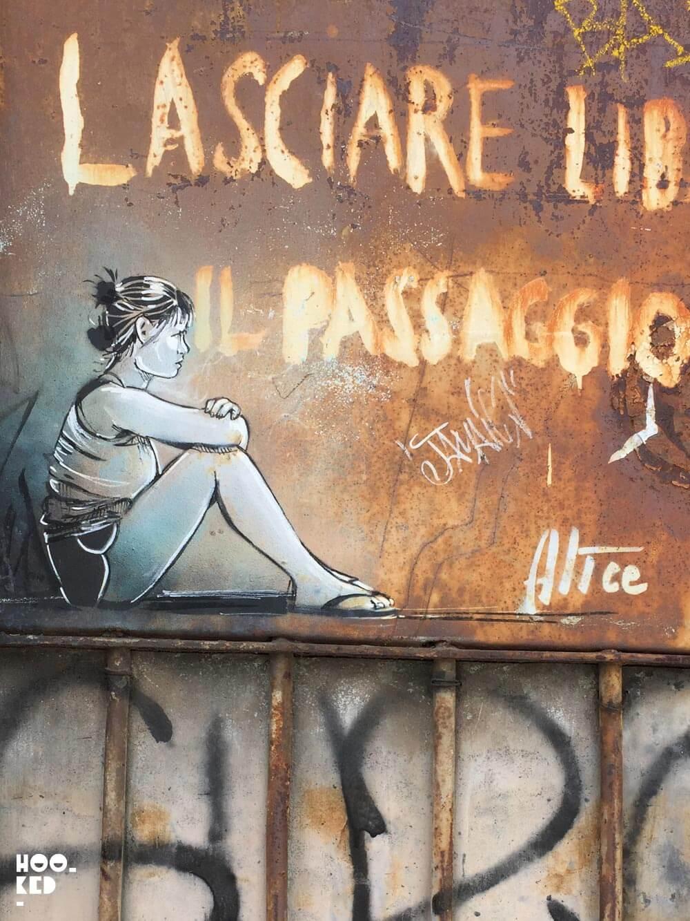 Italian Street Street Artist Alice Pasquini stencil work in Rome, Italy