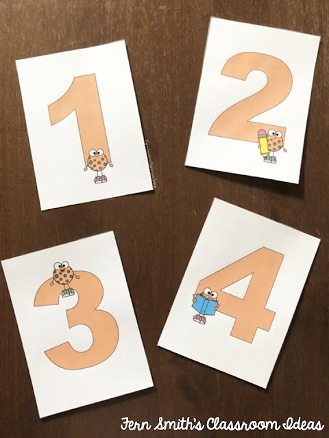 This is a set of large number flashcards with the numbers 0 - 10 designed with a cute Smart Cookie theme. They are perfect to print on card stock, 4 to a page, laminate and then use again and again each year. #FernSmithsClassroomIdeas