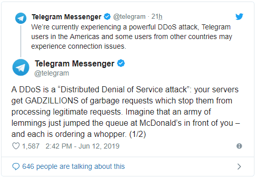 توقف برنامج تيليجرام عن العمل بعد استهدافه في هجوم DDoS