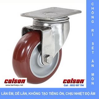 Bánh xe PU đỏ càng bánh xe inox 304 | 2-3356SS-944 | www.banhxepu.net