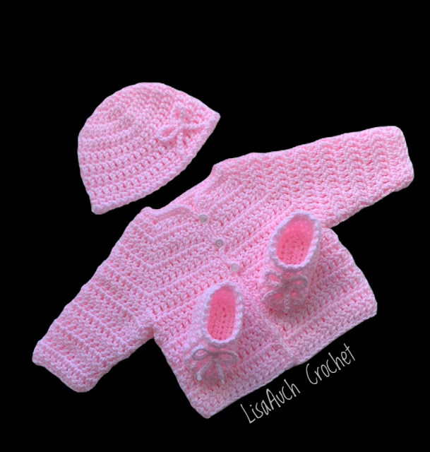 free crochet patterns baby sets cardigan hat booties