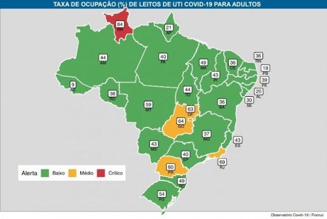 Paraíba é o 2º estado do Brasil e 1º do Nordeste com menor ocupação de leitos Covid