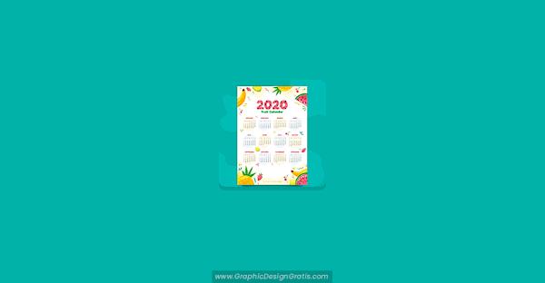 Calendario estilo frutas 2020 gratis