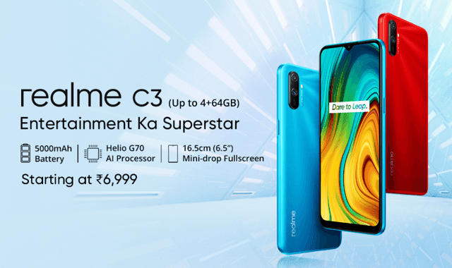 Realme C3 Launches With 5000mAh Battery And 12MP Dual Camera For 6,999rs