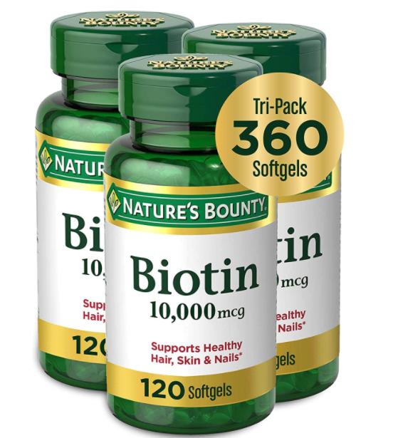 Nature's Bounty Biotin 10,000 mcg, 360 Softgels (3 X 120 Count Bottles)