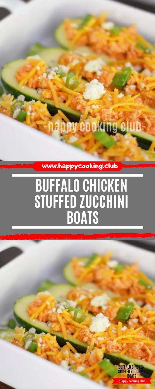 Buffalo Chicken Stuffed Zucchini Boats Recipe