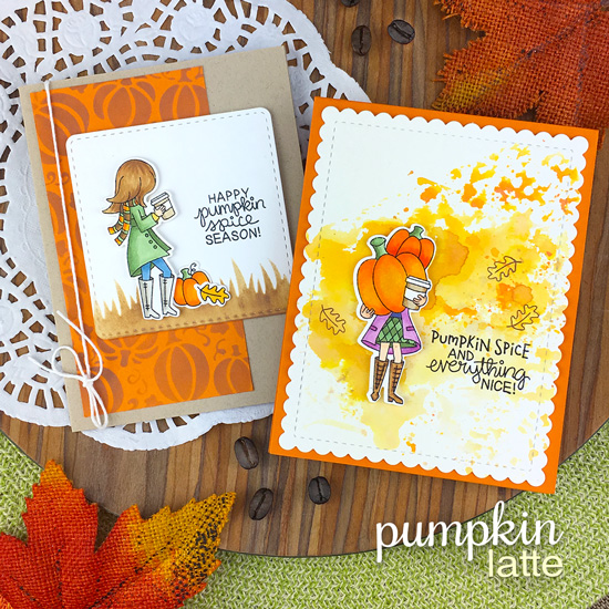 Pumpkin Spice and Coffee Fall Cards by Jennifer Jackson | Pumpkin Latte Stamp Set by Newton's Nook Designs #newtonsnook #handmade