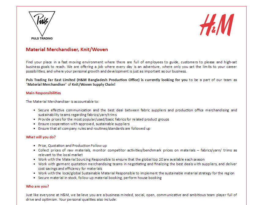 HM - Position Material Merchandiser, Knit/Woven - Jobs Circular