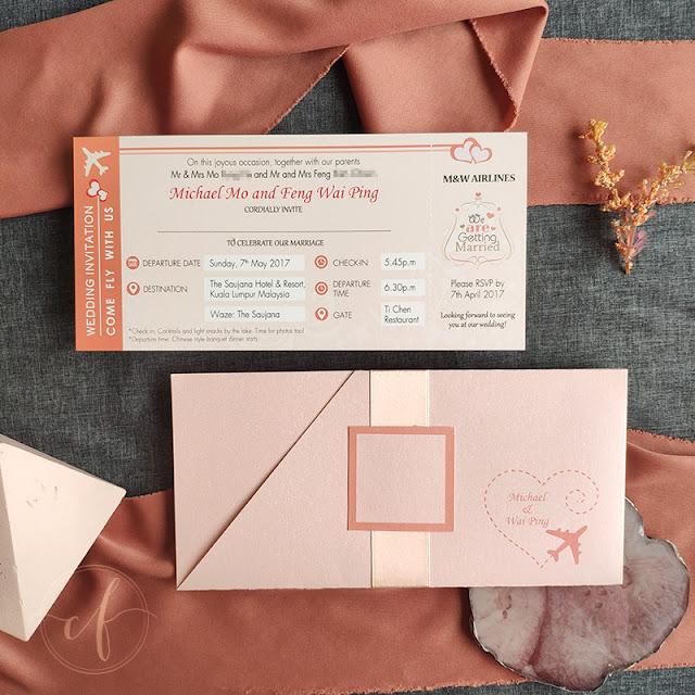 Peach Coral Themed Boarding Pass Wedding Card | The Saujana Hotel Kuala Lumpur