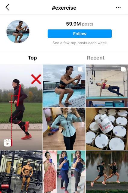 Exercise hashtags for Instagram