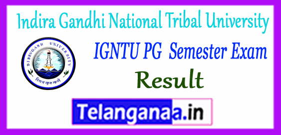 IGNTU Indira Gandhi National Tribal University MA M.Sc MSW MBA 2nd 4th Semester Result 2018