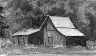 charcoal sketch drawing landscape rural farm barn wood old