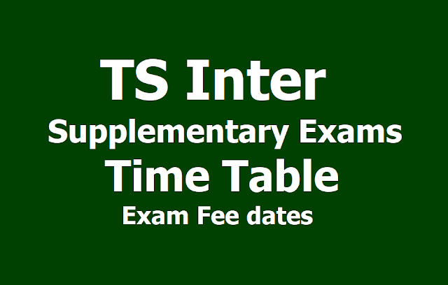 TS Inter Supplementary Exams Time Table, Exam fee dates 2019 (Revised)
