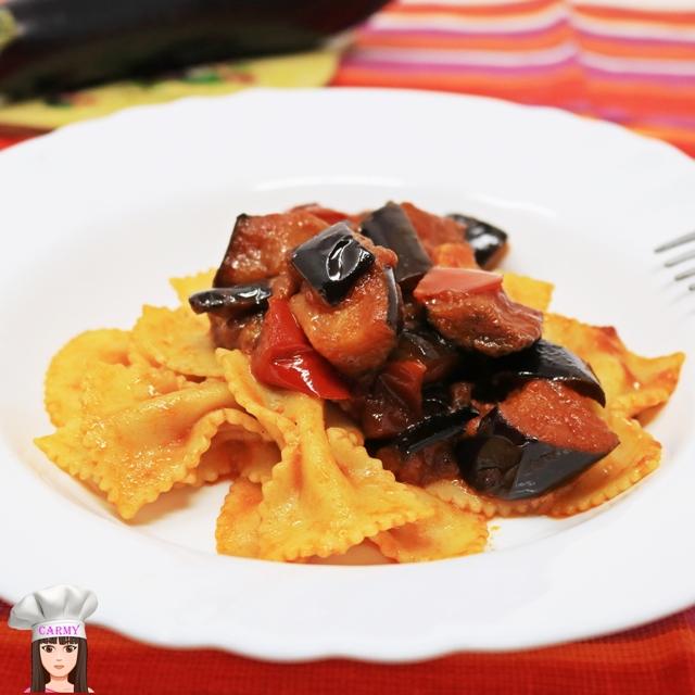 ricetta pasta con melanzane e peperoni