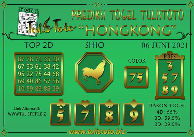 Prediksi Togel HONGKONG TULISTOTO 06 JUNI 2021