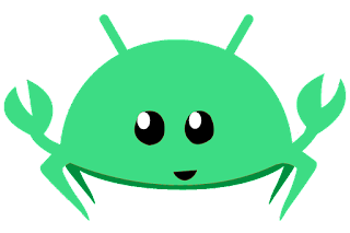 Droidstacean: Rust mascot Ferris, with Android mascot color/aspects
