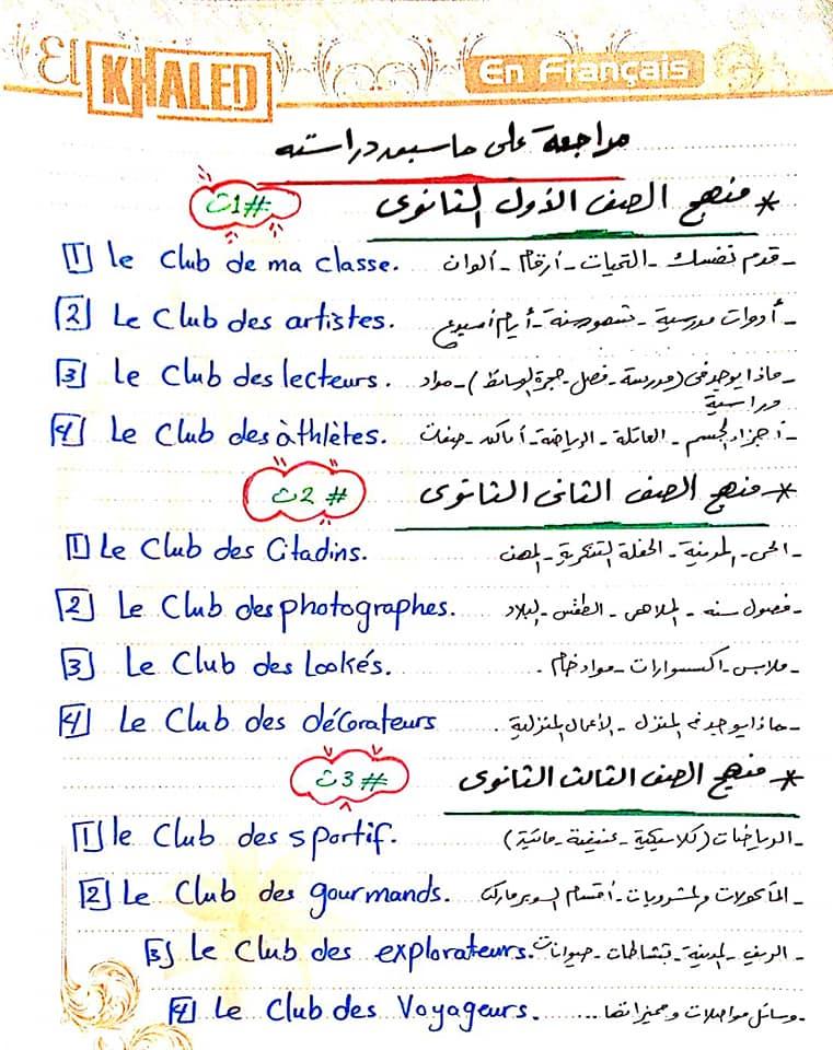 ملخص فرنساوي ثالثة ثانوي أ/ هدير خالد 1