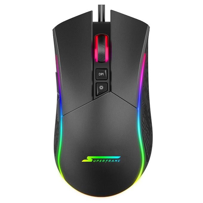 Mouse Gamer SuperFrame, BOSS, 10000 DPI, RGB, 7 Botões, Black, Sensor Pixart 3325