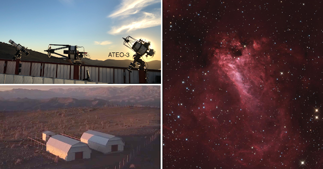 "M17, the Omega Nebula (pictured right) imaged and processed by Frank Jobard with the 12.5"" f/9 Ritchey Chretien, ATEO-3 (pictured above left) housed in Deep Sky Chile's remote observatory located in the dark skies of the Hurtado Valley, Chile (pictured lower left)."