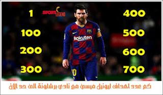 كم عدد اهداف ليونيل ميسي مع نادي برشلونة الى حد الان
