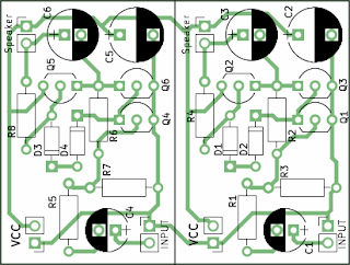 Audio amplifier with common transistors PCB outline