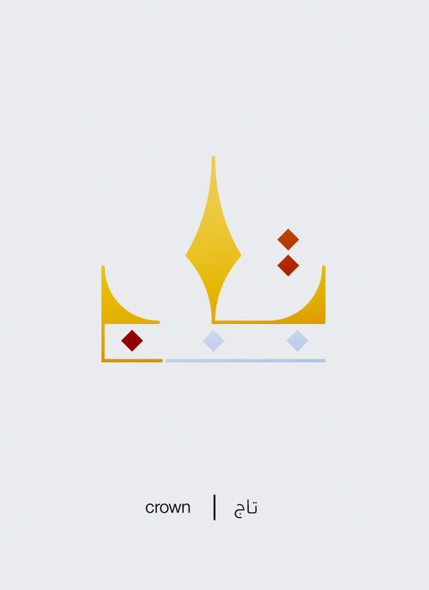 Arabic Words Illustrated Based On Their Literal Meaning - Crown - Taj