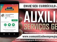 AUXILIAR DE SERVIÇOS GERAIS COM SALÁRIO R$ 998,00 PARA PESSOA COM DEFICIÊNCIA