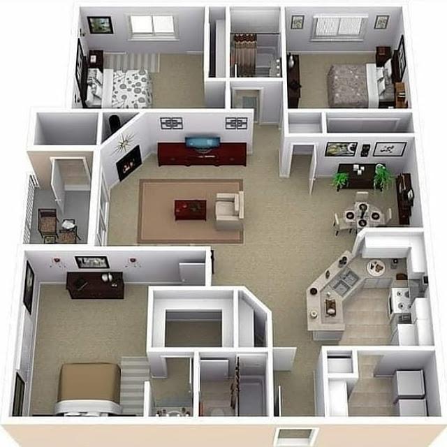 Denah Rumah Minimalis 2 Kamar Tidur Ukuran 8x10 Terbaru