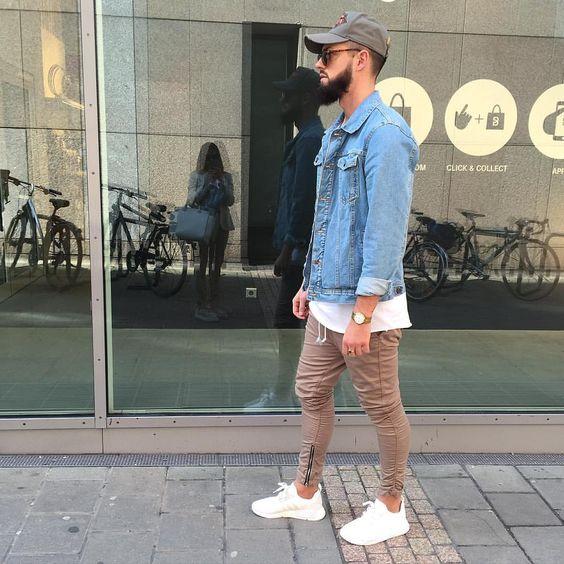 Jaqueta Masculina Jeans com Calça marrom