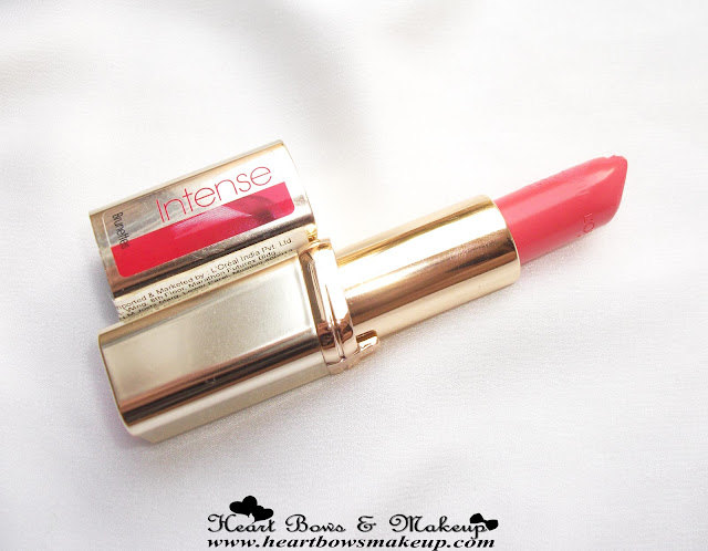 LOreal Color Riche Intense Pink Passion Lipstick Review & Swatches- Best Lipstick For Summer/Spring
