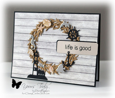 Diana Nguyen, cottage cutz, Impression Obsession, Mini Nautical set, nautical, rustic, wreath, card