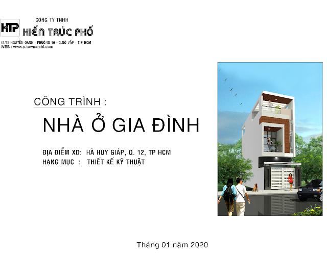 Bản vẻ thiêt kế kỹ thuật thi công nhà phố quận 12- hạng mục kiến trúc