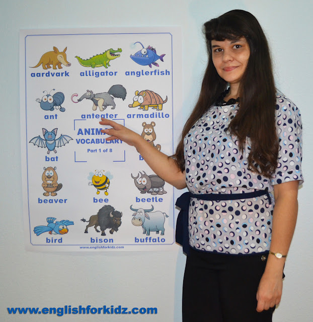 English vocabulary poster for ESL students to learn animal names