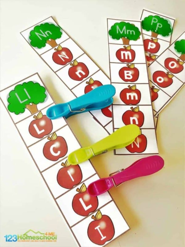 apple alphabet clipping strips activity