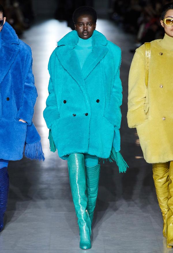 Max Mara blue and yellow teddy coats runway