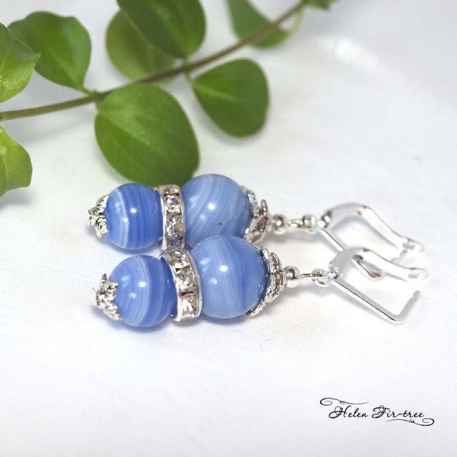Helen Fir-tree náhrdelník a náušnice modrý chalcedon  bižuterie