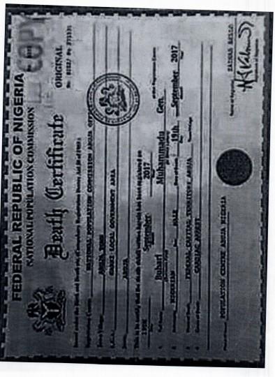 See Photos Of Fake Buhari Death Certificate Posted By Bishop Orieke