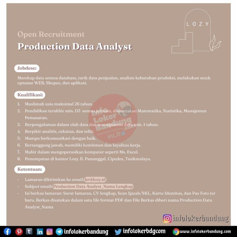 Lowongan Kerja Production Data Analyst Lozy.id Bandung Juli 2021