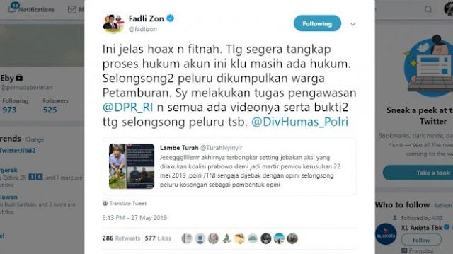 Fadli Zon Meradang Diserang Isu Jebak Polisi dan TNI di Kerusuhan 22 Mei