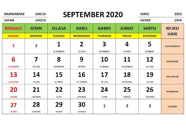 Kalender 2020 Jawa Bulan September