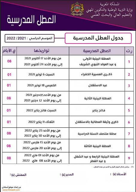 لائحة العطل للموسم الدراسي المقبل 2021-2022 عربية فرنسية