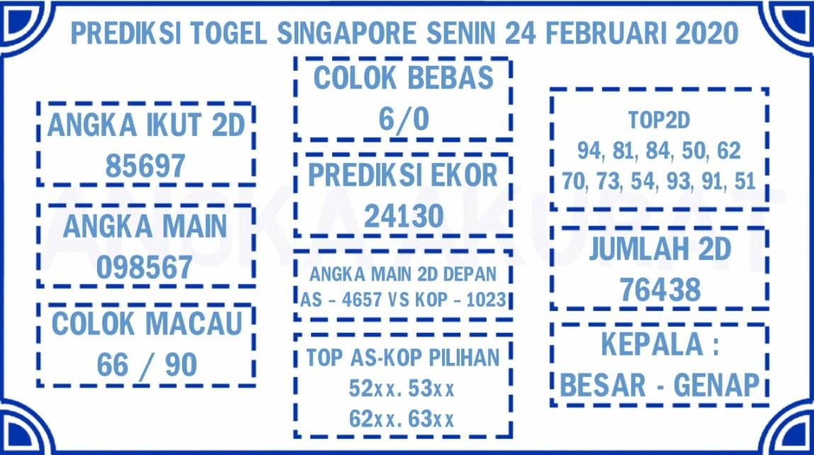 Prediksi Togel JP Singapura 24 Februari 2020 - Prediksi Bocoran Angka
