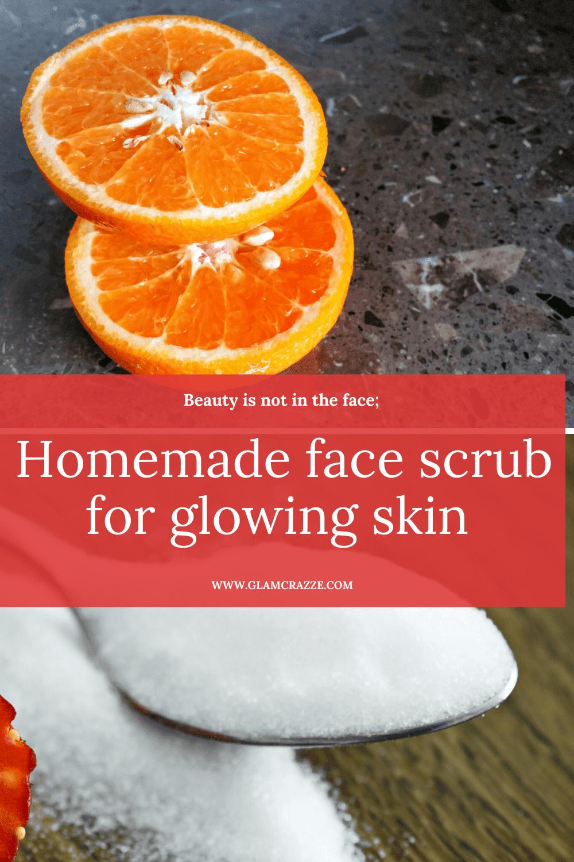 Homemade orange face scrub for glowing skin