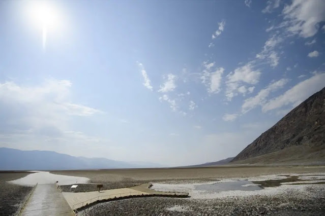 Salt fields inside Death Valley National Park in California, USA during a heat wave. Photo: AFP